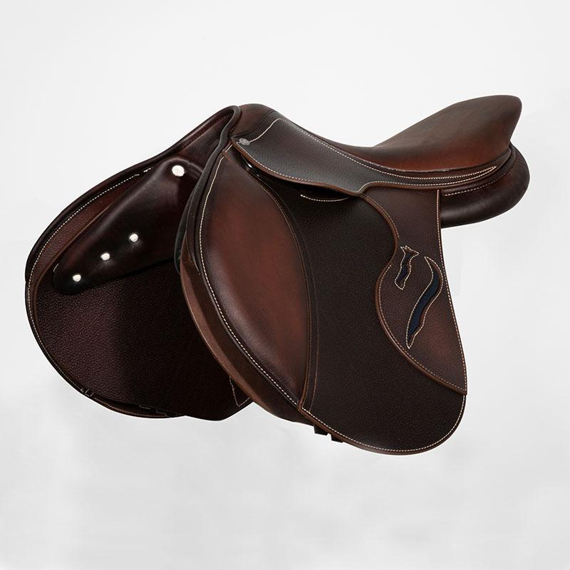Selle antares en cuir sur mesure Evolution selle obstacle cso selle de cheval et poney personnalisable face avant