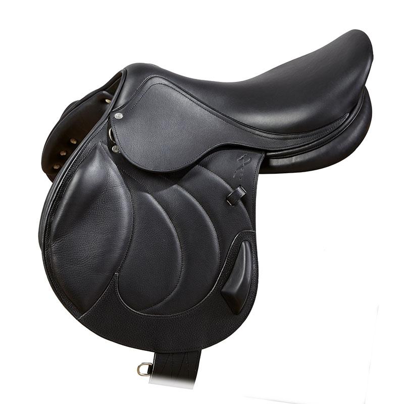 Selle antares en cuir noir sur mesure selle monoquartier selle obstacle cross selle de cheval et poney personnalisable