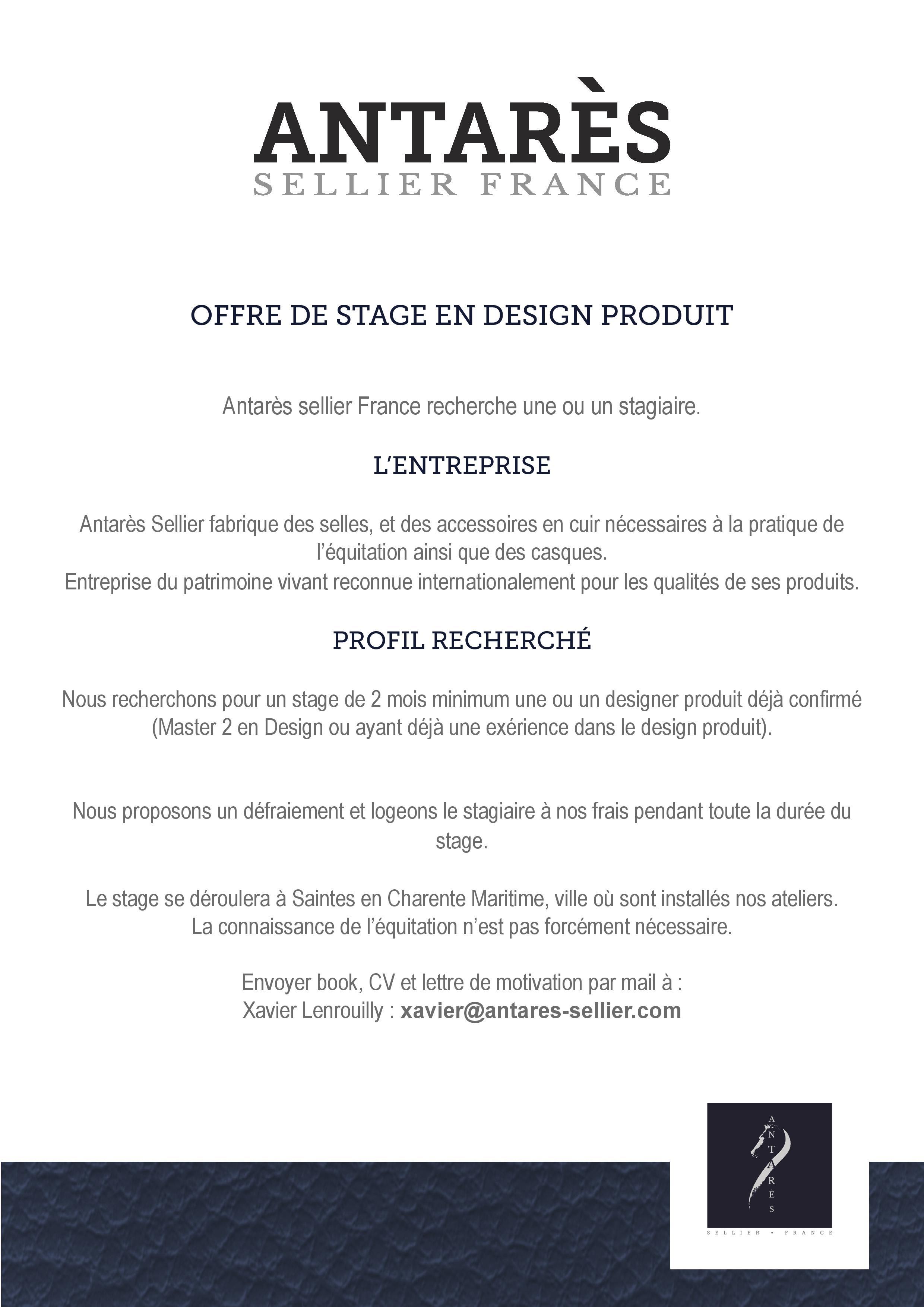 Offre De Stage En Design Produit Antares Sellier